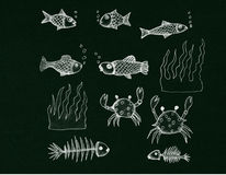 Aquarium Fish on Blackboard Royalty Free Stock Photos