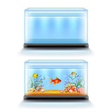Aquarium with fish and blank  on white vector. Aquarium with fish and blank  on white realistic vector illustration Stock Image