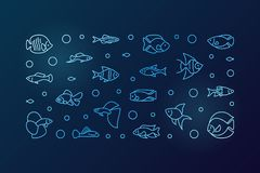 Aquarium fish blue vector horizontal banner in outline style. Aquarium fish blue vector horizontal banner. Aquariumistics concept illustration in outline style Royalty Free Stock Photo