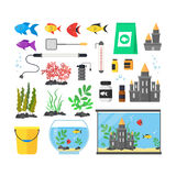 Aquarium with Fish, Blue Water and Equipment Set. Vector. Aquarium with Fish, Blue Water and Equipment Set Hobby or Decor Interior Home Include of Thermometer Royalty Free Stock Photography