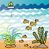 Aquarium  fish cartoon - Illustration drawing. Nemo fish and friends find feed food boat fisherman Royalty Free Stock Photos