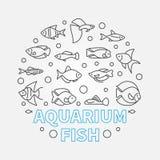 Aquarium fish in circle shape vector aquariumistics illustration. In outline style Royalty Free Stock Image