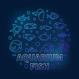 Aquarium fish in circle shape vector blue illustration. Aquarium fish in circle shape vector aquariumistics blue illustration in outline style on dark background Royalty Free Stock Images