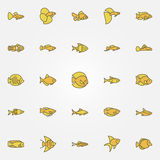 Aquarium fish colorful icons. Vector creative fish yellow symbol or design elements Royalty Free Stock Photos