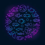 Aquarium fish colorful illustration. Vector round symbol made with icons of thin line freshwater and saltwater fish on dark background Royalty Free Stock Photo