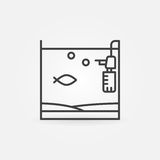 Aquarium with fish and filter icon. Vector minimal home fish tank concept symbol or logo element Stock Photography