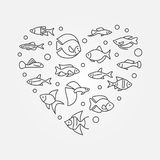 Aquarium fish in heart shape vector aquariumistics illustration. Aquarium fish in heart shape vector aquariumistics concept illustration or symbol in thin line Royalty Free Stock Images