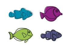 Aquarium fish icon set, color outline style. Aquarium fish icon set. Color outline set of aquarium fish vector icons for web design isolated on white background Stock Photo