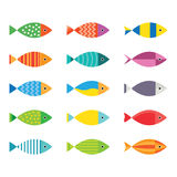 Aquarium fish icons set. Stock Photos