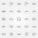 Aquarium fish icons Royalty Free Stock Images