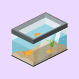 Aquarium with fish isometric vector. Aquarium with fish colorful minimalistic isometric style vector illustration Stock Images