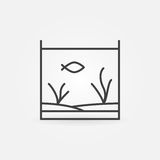 Aquarium with fish line icon. Vector minimal fish tank concept symbol or logo element in outline style Royalty Free Stock Images