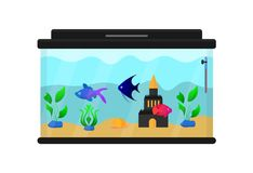 Aquarium with fish, plants, snail,. Thermometer and Castle. Decor for home, interior. Illustrations for children`s books and encyclopedias. Flat vector Stock Images
