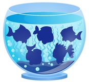 Aquarium with fish silhouettes 3 Royalty Free Stock Photography