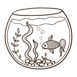 Aquarium With A Fish Stock Vector Illustration Of Decoration