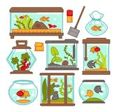 Aquarium fish tank vector icons. Aquariums of fish tank with tropical fishes and plants. Vector tanks with filtration system, heater, scoop net and thermometer Royalty Free Stock Photography