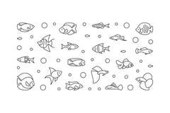 Aquarium fish vector banner. Aquariumistics illustration. Aquarium fish vector horizontal banner. Aquariumistics concept illustration in outline style Royalty Free Stock Photo