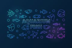 Aquarium fish vector colored horizontal banner in line style. Aquarium fish vector colored horizontal banner in thin line style. Exotic tropical aquarium fish Stock Image