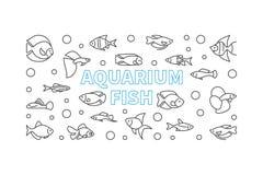 Aquarium fish vector horizontal banner in thin line style. Exotic tropical aquarium fish concept illustration Stock Image