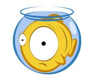 Aquarium fish. Vector illustration of a cartoon fish in a small aquarium. Concept of an uncomfortable position Royalty Free Stock Photo