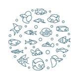 Aquarium fish vector round creative illustration in line style. Aquarium fish vector round creative illustration in thin line style. Exotic tropical aquarium Royalty Free Stock Image