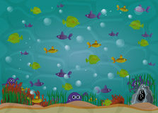Aquarium with fishes Illustration Royalty Free Stock Photos