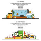 Aquarium and garden tools banners in flat style. Vector design elements, icons. vector illustration