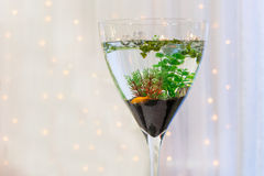 Aquarium with gold fish as modern wedding table decoration. Royalty Free Stock Images