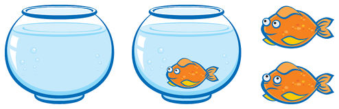 Aquarium and goldfish with smile, illustration Stock Photos
