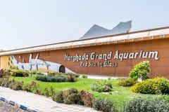 Aquarium grand de Hurghada, la Mer Rouge en verre image stock
