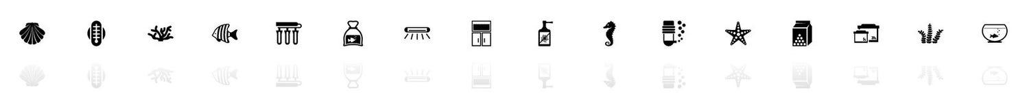 Aquarium - Flat Vector Icons. Aquarium icons - Black horizontal Illustration symbol on White Background with a mirror Shadow reflection. Flat Vector Icon Stock Photos