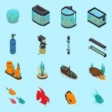 Aquarium Icons Set. On blue background isometric isolated vector illustration Stock Image