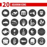 Aquarium Icons. Set of modern flat aquarium icons - fish tanks, fish types, aquarium plants and decor. Aquarium supplies, maintenance, starter kit symbols. Pet Stock Photos
