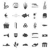 Aquarium Icons. Set of modern flat aquarium icons - fish tanks, fish types, aquarium plants and decor. Aquarium supplies, maintenance, starter kit symbols. Pet Royalty Free Stock Image