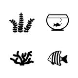 Aquarium inhabitants. Simple Related Vector Icons Royalty Free Stock Image