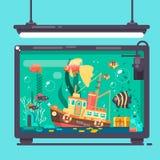 Aquarium met van vissenalgen en decoratie Vlakke vectorillustratie Stock Fotografie