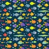 Aquarium ocean fish underwater bowl tropical aquatic animals water nature pet characters seamless pattern background. Aquarium ocean fish underwater bowl Royalty Free Stock Images