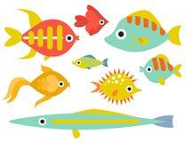 Aquarium ocean fish underwater bowl tropical aquatic animals water nature pet characters vector illustration. Beautiful swim freshwater nautical seaside Stock Images