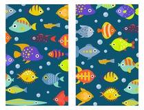 Aquarium ocean fish underwater cards bowl tropical aquatic animals water nature pet characters vector illustration. Beautiful swim freshwater nautical seaside Royalty Free Stock Photography