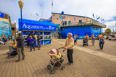 Aquarium Pier 39. San Francisco, California, United States - August 14, 2016: tourists buy tickets for Aquarium of the Bay, a popular attraction, between Royalty Free Stock Images