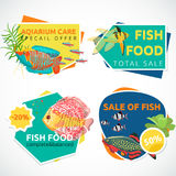 Aquarium sale banner, sticker with place for text. Cartoon flat aquarium banners with fish  vector illustration Stock Photo