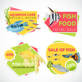 Aquarium sale banner, sticker with place for text. Cartoon flat aquarium banners with fish  vector illustration Royalty Free Stock Photo