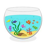 Aquarium with seaweeds and colorful fish. Vector illustration stock illustration