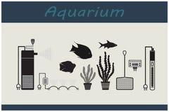 Aquarium. Set2 tools for the aquarium. Accessories and fish. Stock Photo