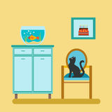 Aquarium on shelf and cat. On the stool, interior in flat style.  Flat Vector Illustration Stock Image