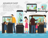 Aquarium Shop Illustration. People watching fish in big and small aquariums in pet shop flat vector illustration Royalty Free Stock Images