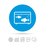 Aquarium sign icon. Fish in water symbol. Copy files, chat speech bubble and chart web icons. Vector Royalty Free Stock Photos