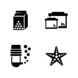 Aquarium. Simple Related Vector Icons. Set for Video, Mobile Apps, Web Sites, Print Projects and Your Design. Black Flat Illustration on White Background Royalty Free Stock Image
