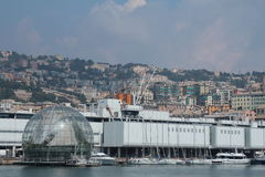 The aquarium and the sphere of Renzo Piano. In the port of Genoa Stock Photo