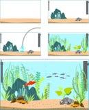 Aquarium. Stages of creating an aquarium Stock Images